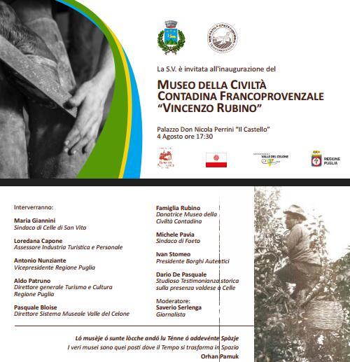 Inaugurazione del Museo della civiltà contadina Francoprovenzale a Celle di San Vito